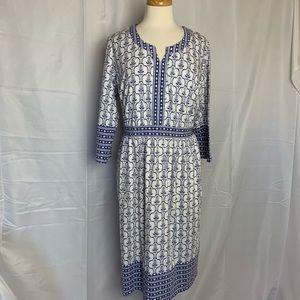 ELLOS blue & white A-Line Dress - 14/16